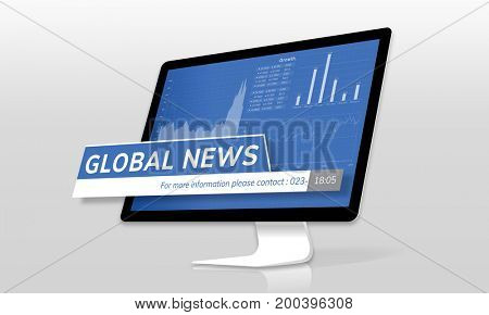 Illustration of global news on a computer screen