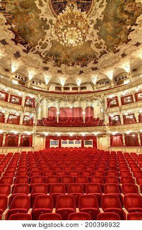 PRAGUE CZECH REPUBLIC - DECEMBER 21 2016: The State Opera Prague - Empty auditorium before reconstruction