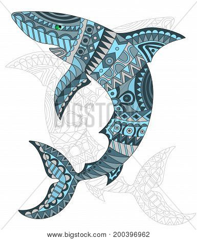 Illustration of abstract fish shark fish and painted its outline on white background isolate