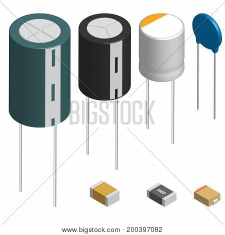 Set of capacitors of different shapes isolated on white background. Elements design of electronic components. 3D isometric style vector illustration.