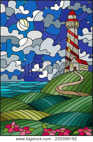 Illustration in stained glass style lighthouse on the backdrop of flowering fields against starry cloudy sky and moon