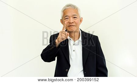 Asian Senior Man Casual Business Suit With Happy Face And Hand Gesture