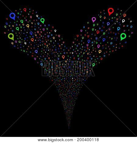 Map Marker fireworks stream. Vector illustration style is flat bright multicolored iconic map marker symbols on a black background. Object fountain combined from random symbols.