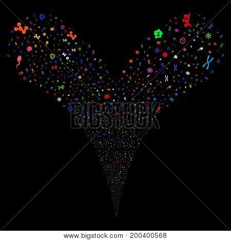 Microbes fireworks stream. Vector illustration style is flat bright multicolored iconic microbes symbols on a black background. Object fountain done from random design elements.