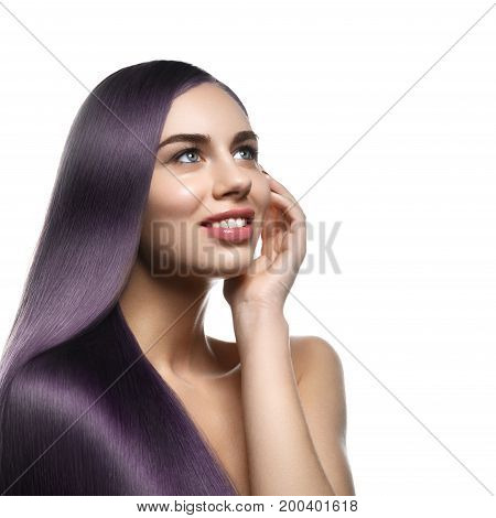 beautiful young woman with long healthy shiny hair. copy space. isolated on white background.