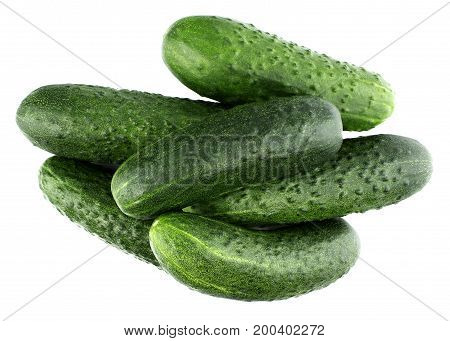 Fresh cucumbers isolated on white, tasty, natura, top view