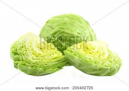Cut cabbage on white background, tasty, natura