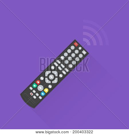 The black remote control with a flat shadow.The electronic device on the isolated background.Flat design. Vector illustration.