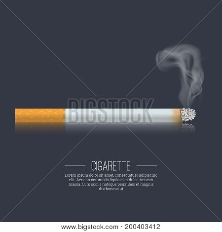 The smoking realistic cigarette on the dark isolated background.Design element. Vector illustration.