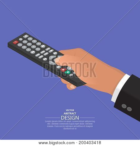 The hand keeps the remote control in a suit.The hand operates the electronic device.Isometry.3D style. Flat design. Vector illustration.