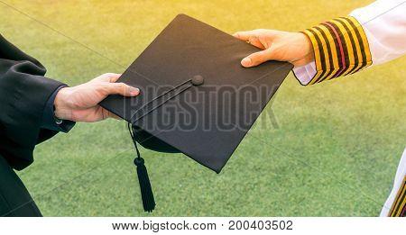 Graduation Student Commencement University With Asian Commencement Suit. Celebration Education Gradu