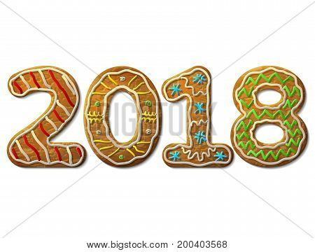 New Year 2018 in shape of gingerbread isolated on white. Year number as cookies. Best vector design element for new years day christmas winter holiday cooking new years eve food silvester etc