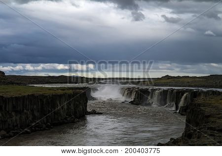 Panorama view to Selfoss waterfall in Iceland