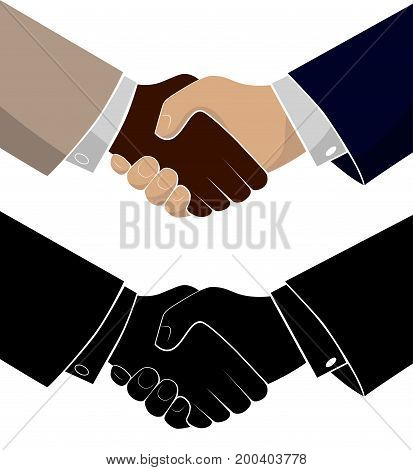 Handshake of two business men. Conclusion of the transaction and achievement of success. Congratulations colleague