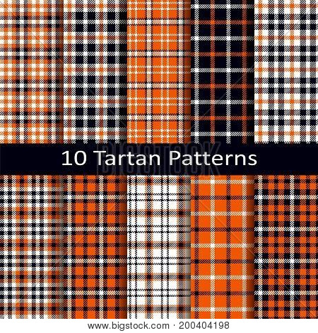set of ten seamless vector tartan square patterns with halloween coloring
