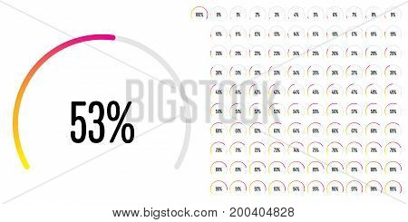 Set of circular sector percentage diagrams from 0 to 100 ready-to-use for web design, user interface (UI) or infographic - indicator with gradient from yellow to magenta (hot pink)