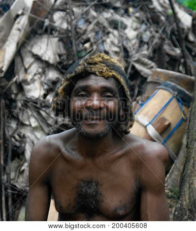 Portrait of Baka pigmy tribe chief - 04-03-2014 Dja Reserve Cameroon
