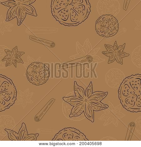 Seamless pattern with Cinnamon and lemon - brown line art on a beige background, hand drawn vector stock illustration