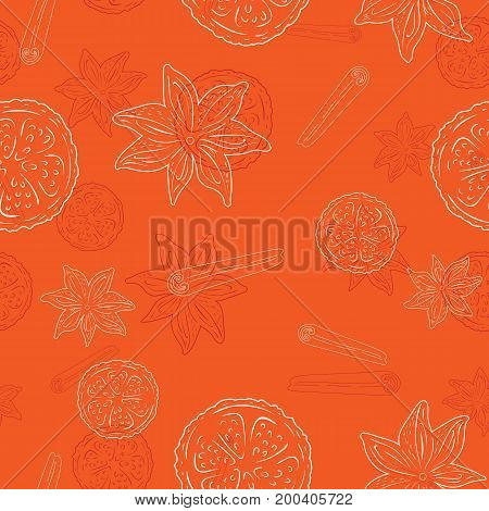 Seamless pattern with Cinnamon and lemon - light line art on a orange background, hand drawn vector stock illustration