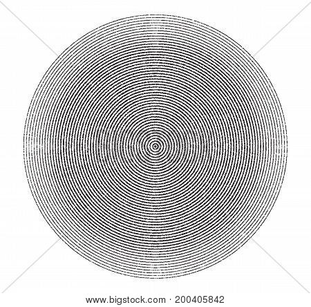 Abstract concentric circles texture in black and white colors, background pattern in modern style. Vector illustrarion