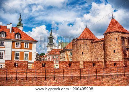 Warsaw, Poland: the Warsaw Barbacan, Polish barbakan warszawski in the summer