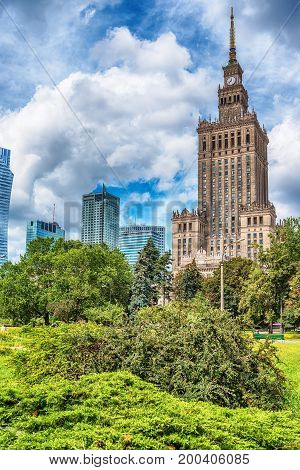 Warsaw, Poland: the Palace of Culture and Science, Polish Palac Kultury i Nauki, in the summer