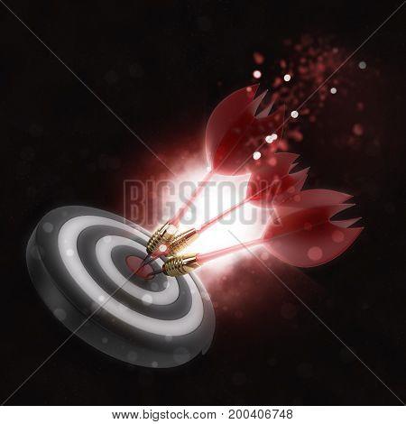 3D render of darts hitting the bullseye