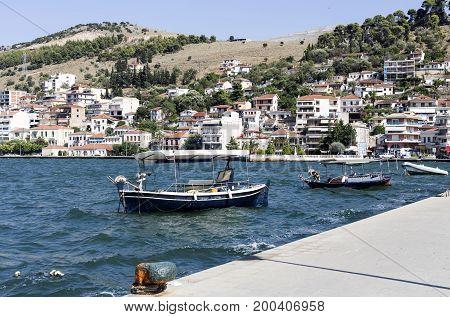 View on moored fishing boat (town Amfilochia, Mediterranean, Greece)