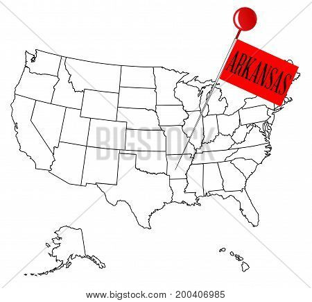 An outline map of USA with a knob pin in the state of Arkansas
