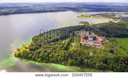 Kaunas, Lithuania: Pazaislis Monastery and Church, located on a peninsula in Kaunas Reservoir, in the summer