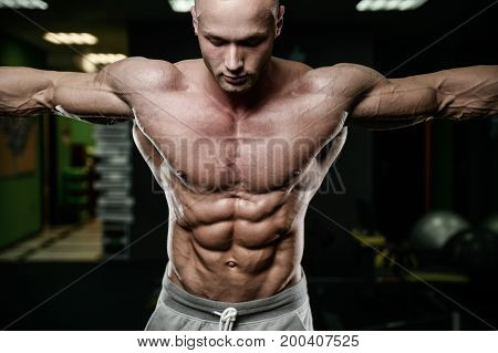 Young Man Train In Gym Healthcare Lifestyle Sexy Caucasian Man