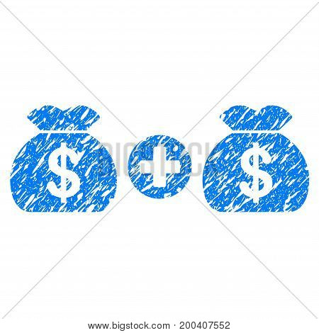 Grunge Add Money Bags icon with grunge design and dirty texture. Unclean vector blue pictogram for rubber seal stamp imitations and watermarks. Draft sign symbol.