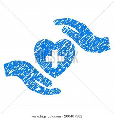 Grunge Cardiology Care Hands icon with grunge design and unclean texture. Unclean vector blue pictogram for rubber seal stamp imitations and watermarks. Draft emblem symbol.