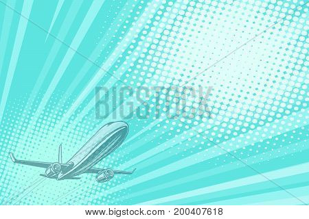 Takeoff aviation background flight journey. Airplane aviation travel voyage tourism air transport. Pop art retro vector illustration