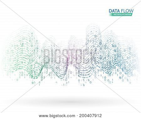 Abstract data flow background with binary code. Dynamic waves technology concept. Vector illustration information stream.