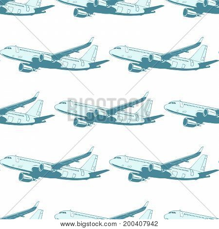 Aircraft aviation airplane air transport seamless pattern isolated on white background. Airplane aviation travel voyage tourism air transport. Pop art retro vector illustration
