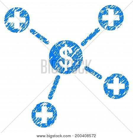 Grunge Financial Medical Links icon with grunge design and dirty texture. Unclean vector blue pictogram for rubber seal stamp imitations and watermarks. Draft sticker symbol.