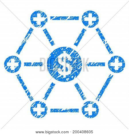 Grunge Financial Medical Network icon with grunge design and dust texture. Unclean vector blue pictogram for rubber seal stamp imitations and watermarks. Draft sticker symbol.