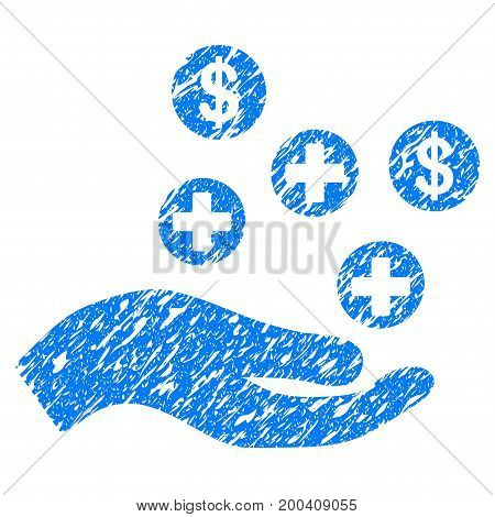 Grunge Hand Offer Medical Service icon with grunge design and dust texture. Unclean vector blue pictogram for rubber seal stamp imitations and watermarks. Draft emblem symbol.