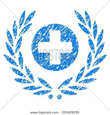 Grunge Health Care Embleme icon with grunge design and unclean texture. Unclean vector blue pictogram for rubber seal stamp imitations and watermarks. Draft sticker symbol.