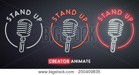 Stand Up neon sign. Creator animate. Isolated logo.