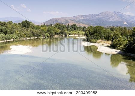 View of the mountain river Arachthos and the mountains in the morning(Greece, Epirus region)