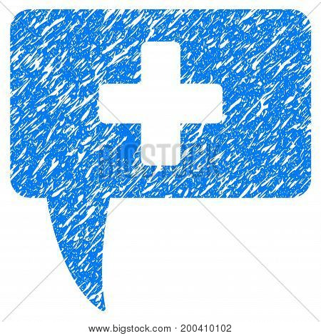 Grunge Medical Answer icon with grunge design and dirty texture. Unclean vector blue pictogram for rubber seal stamp imitations and watermarks. Draft sign symbol.