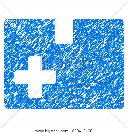 Grunge Medical Box icon with grunge design and dust texture. Unclean vector blue pictogram for rubber seal stamp imitations and watermarks. Draft emblem symbol.