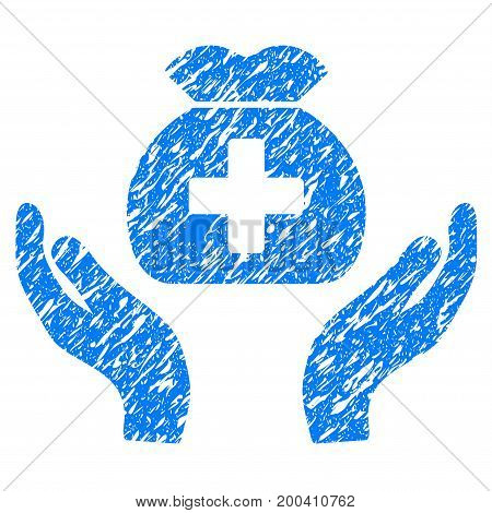 Grunge Medical Fund Care Hands icon with grunge design and dust texture. Unclean vector blue pictogram for rubber seal stamp imitations and watermarks. Draft sign symbol.
