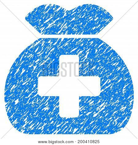 Grunge Medical Fund Sack icon with grunge design and scratched texture. Unclean vector blue pictogram for rubber seal stamp imitations and watermarks. Draft emblem symbol.