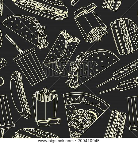 Nice monochrome outline fast food seamless pattern yellow line fastfood symbols on dark background. Tasty food texture for bar cafe menu design textile wrapping paper wallpaper banner cover