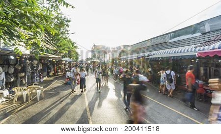 Bangkok, Thailand. - 22 Jul 2017 : the urban space of Chatuchak Market with people walk on the market street in hot summer day,Bangkok ,Thailand