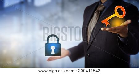 Blue chip business manager is holding up a virtual bright key in his left hand and a padlock in his right as if to contrast a challenge with its solution. Leadership concept for finding a way out.