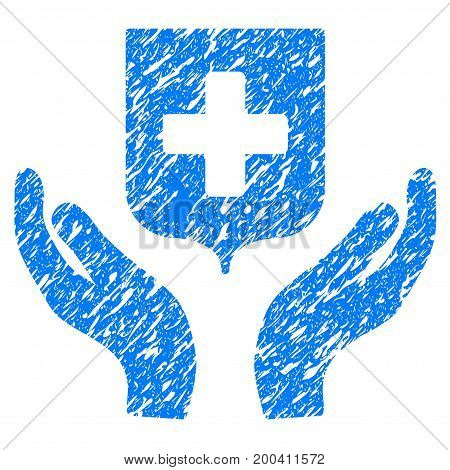 Grunge Medical Shield Care Hands icon with grunge design and dust texture. Unclean vector blue pictogram for rubber seal stamp imitations and watermarks. Draft sign symbol.